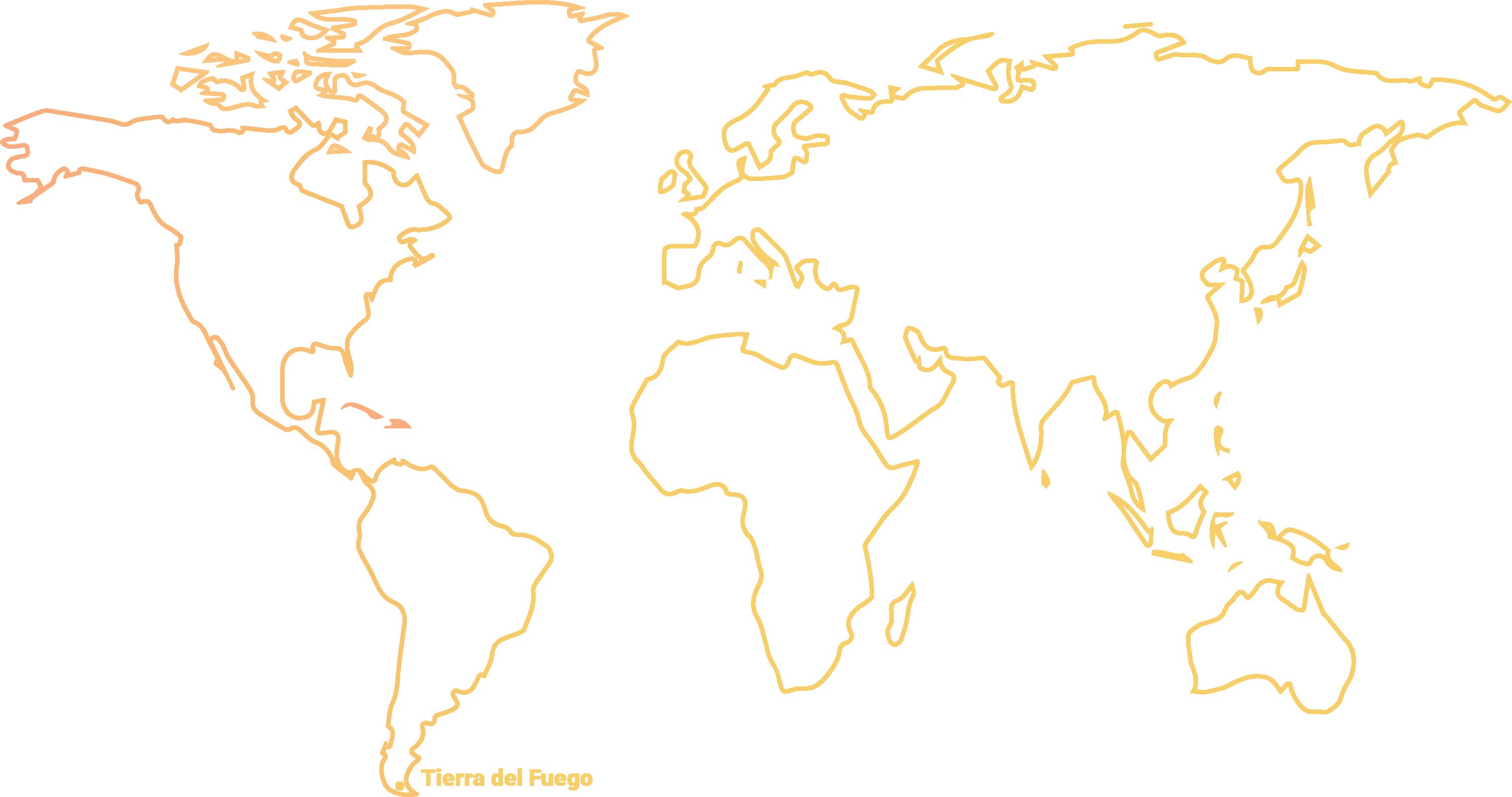 Map of world marking Tierra del fuego